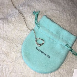 Tiffany open heart diamond pendant necklace